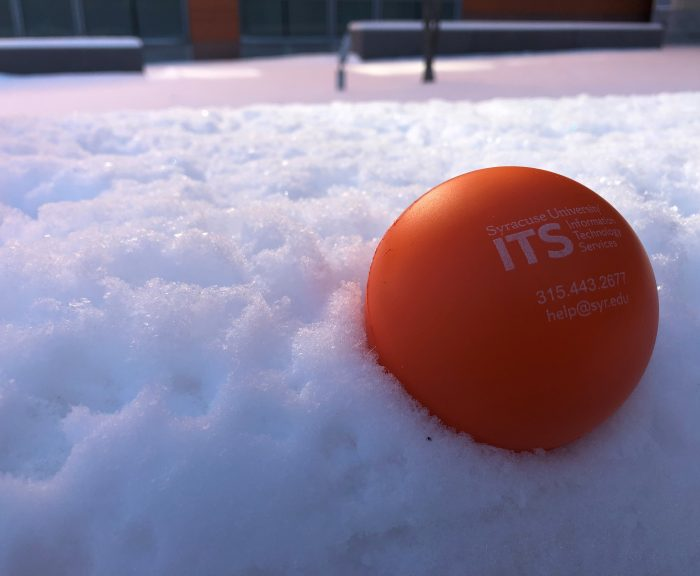 ITS stress ball in the snow