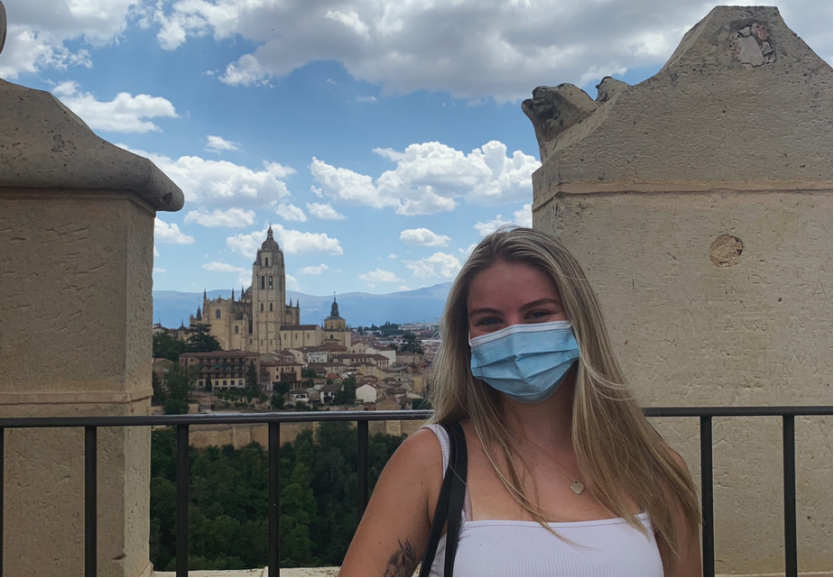 Hannah Fox '23 chose to study abroad in Madrid, Spain this summer, and said that the pre-departure, online orientation assisted in adjusting her to in-person campus at the Madrid Center. Photo Credits: Hannah Fox